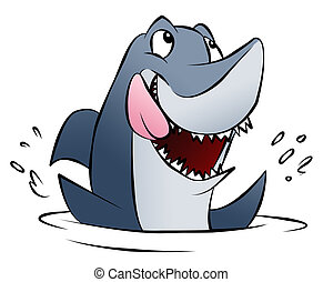 Hungry Shark - A hungry cartoon shark splashing in the...