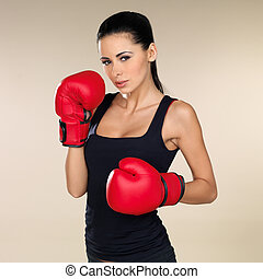 Brunette boxing girl - Young beautiful woman during fitness...