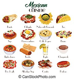 Mexican Cuisine Icons - A vector illustration of Mexican...