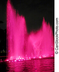 Illuminated colorful fountains at night