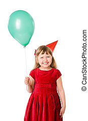 Birthday girl wearing cap holding balloon isolated on white