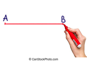 Hand drawing a line from point A to point B with red marker