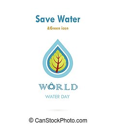 Water drop with leaf icon vector logo design template.World...