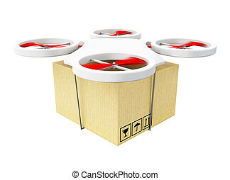 3D Drone carrying a cardboard box. - 3d renderer image....