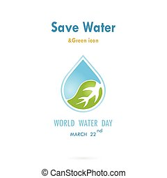 Water drop with leaf icon vector logo design template.World Water Day idea campaign for greeting card and poster.