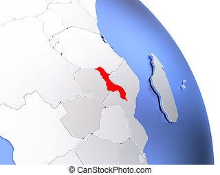 Malawi on elegant globe - Map of Malawi on elegant shiny...