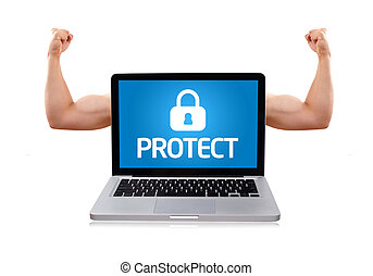 Laptop with protect sign and muscular biceps - Isolated...