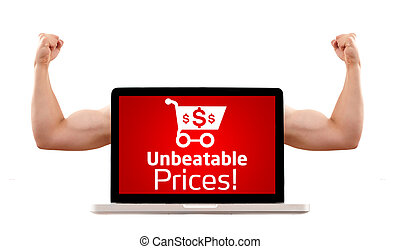 Laptop with unbeatable prices and shopping cart sign -...
