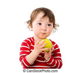 Girl eating apple - Adorable toddler Girl eating apple...