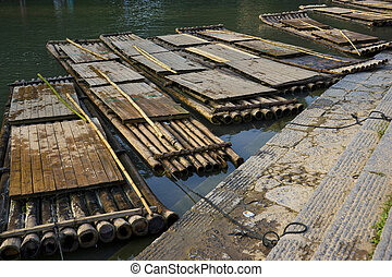 Bamboo Rafts - Image of bamboo rafts at Yangshuo, Guilin,...