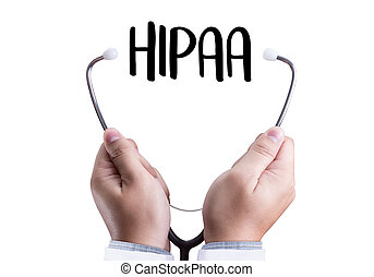 HIPAA Professional doctor use computer and medical equipment...