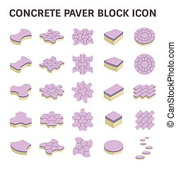Paver Block Floor - Concrete paver block floor vector icon...