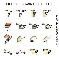 Roof Gutter Icon - Roof gutter for drainage system vector...