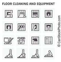 Floor Cleaning Icon - Floor cleaning and equipment vector...