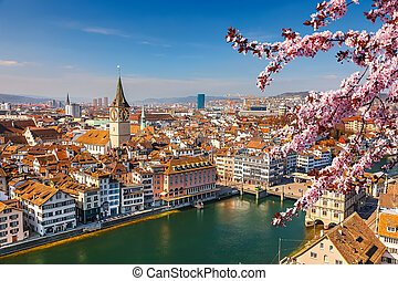 Zurich aerial view - Downtown of Zurich at spring sunny day