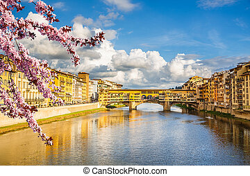 Arno river in Florence at spring