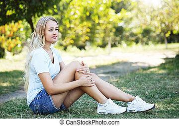 woman resting in the park