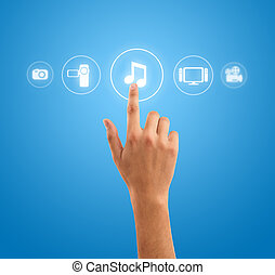 Hand pressing music note symbol from media icons - hand...