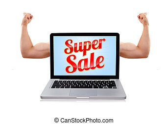 Laptop with super sale sign and muscular biceps