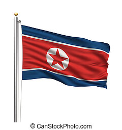Flag of North Korea - Flag of Flag of North Korea with flag...
