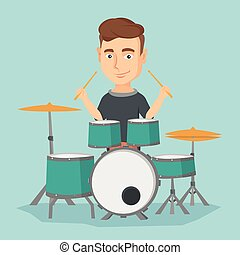 Man playing on drum kit vector illustration. - Caucasian...