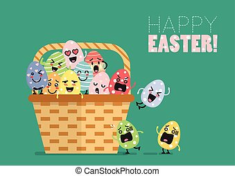 Easter eggs character in basket