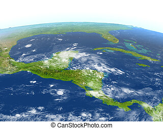 Central America on planet Earth - Central America. 3D...