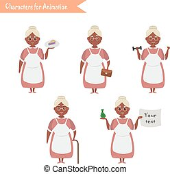 Funny Grandmother housewife cartoon. - African American...