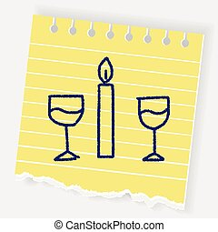 doodle candlelight dinner
