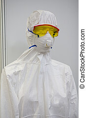 Mannequin in white protective clothing, respirator and...