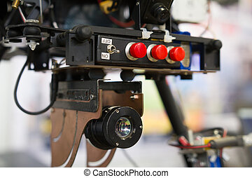 Military Army thermal imager on helicopter drones, close up...