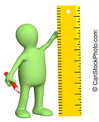 Puppet with ruler - 3d puppet with ruler - over white