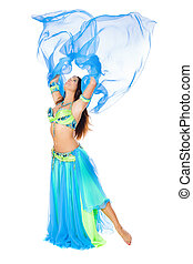 belly dancer - Beautiful young brunette belly dance woman...