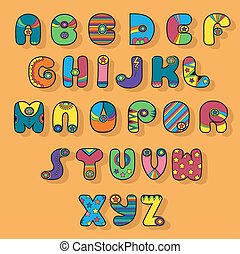 Colorful Alphabet. Superhero style. Cartoon letters with...