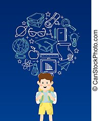 Boy Student With Education Icons