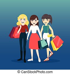 Cartoon Woman Group With Shopping Bag