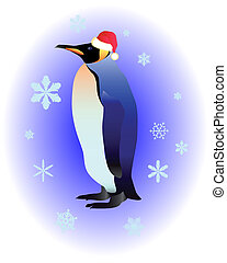 Penguin in a red cap on a blue background with snowflakes