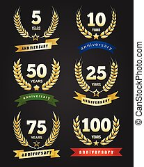 Anniversary golden banners. Traditional logo set with...