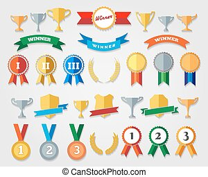 Flat trophy cup and award icons vector illustration....