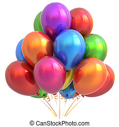 Party balloons happy birthday decoration colorful multicolored