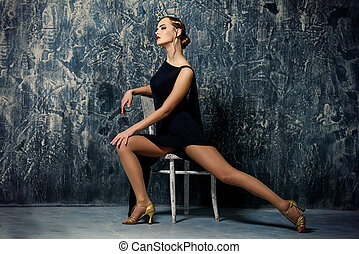 graceful dancer - Beautiful charming woman with old...