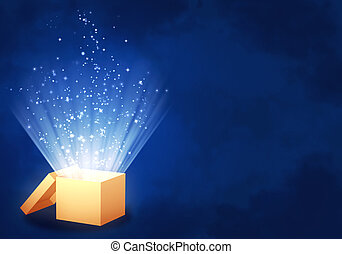 Magic box - Horizontal background of blue color with magic...