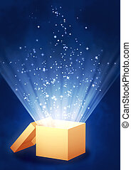Magic box - Vertical background of blue color with magic box