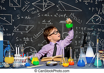 little scientist - Little boy scientist in the laboratory....