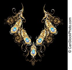 Peacock feather pattern - Symmetrical ornament of gold...