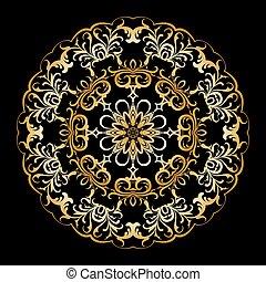 Gold circular pattern.