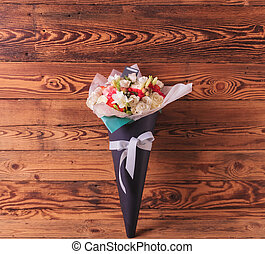 beautiful flowers in a bouquet with bow for celebrating love...