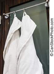 Dressing gowns for guests on the door