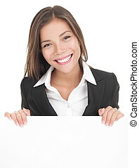 Business woman white sign board - Business woman showing...