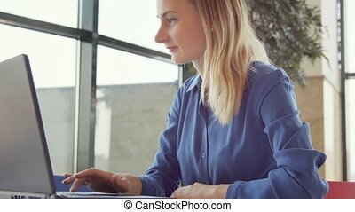 Young attractive businesswoman working on modern laptop in...